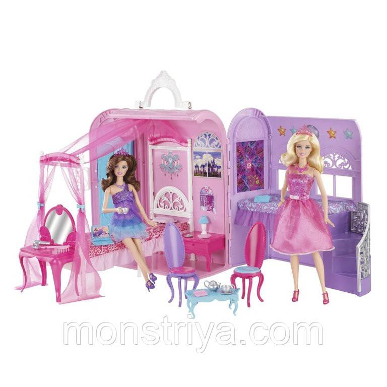 Комната Барби из м/ф Принцесса и Поп-звезда Barbie от Mattel (домик в чемодане с ручкой для переноски)