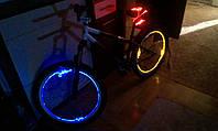 Подсветка колес велосипеда ярким оптическим проводом