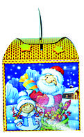 """Новогодняя картонная упаковка для  конфет """"Куб с Дедом морозом"""" 800 г."""