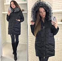 Женская теплая куртка с мехом.