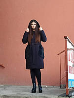 Тепле кашемірове пальто з капюшоном, синє
