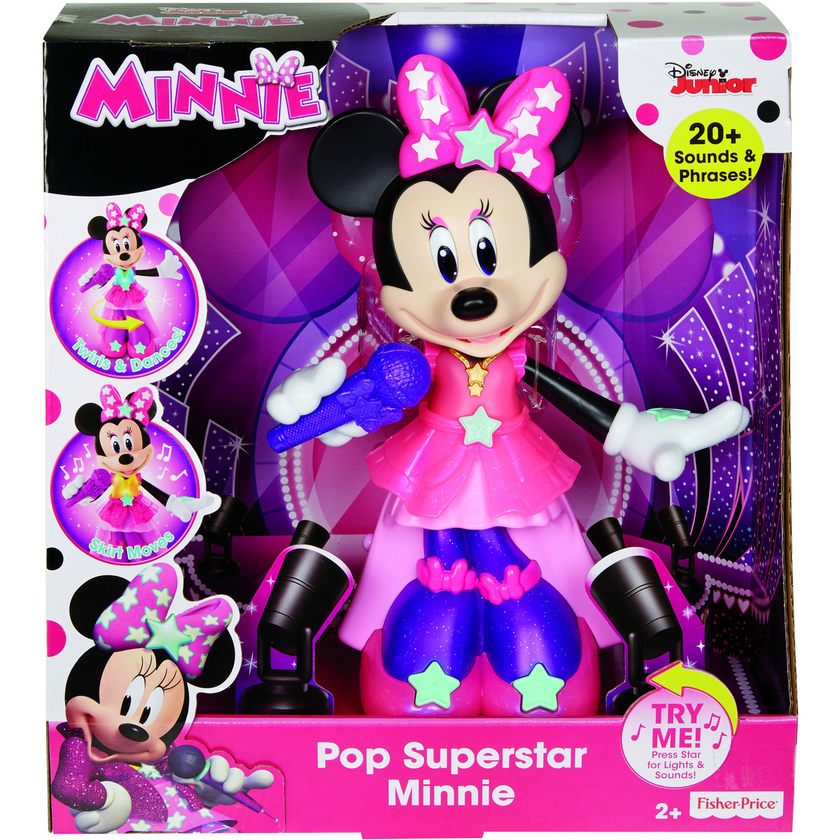 Интерактивная танцующая Мини Маус, свет, музыка, Fisher-Price Pop Superstar Minnie, Оригинал из США