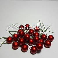 Шарик-ягодка на проволоке, 12 мм, цвет красный перламутровый, 10 шт.