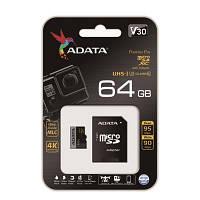 Карта памяти ADATA 64GB microSDXC C10 UHS-I U3 W95/R90MB/s + SD
