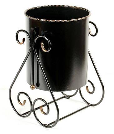 Уличная металлическая кованая черная урна №1, 35 х 35 х 50 см, фото 2