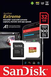 Карта памяти SanDisk 32GB microSDHC V30 A1 UHS-I U3 R100/W60MB/s 4K Extreme + SD