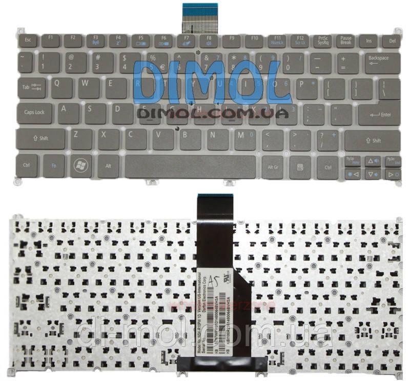 Оригинальная клавиатура для ноутбука Acer Aspire S3, S5, One 756, TravelMate B1 Series Gray, ru