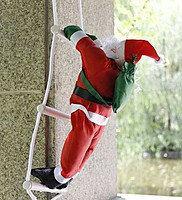 Новогодняя фигура Деда Мороза на лестнице 50 см.