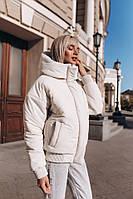 Зимняя короткая куртка оверсайз с объемным воротником-капюшоном tez1401168