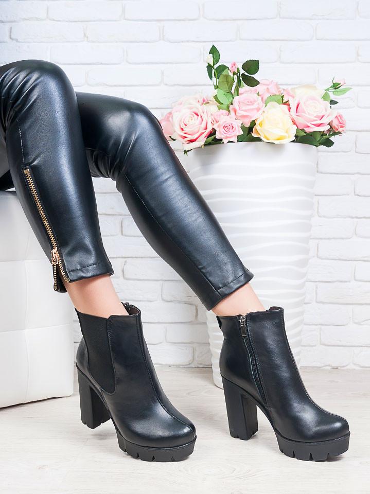 55b183020 Ботильоны из натуральной кожи черного цвета Kamilla - стильная ...