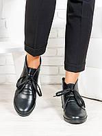 Ботинки женские из качественной натуральной кожи Gretta черного цвета - стильная женская обувь