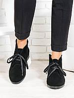Ботинки женские из натуральной замши Gretta черного цвета - стильная женская обувь