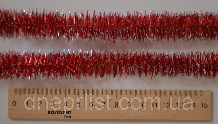 Мишура 2.5 см, красная + серебро, 2,60 м, фото 2