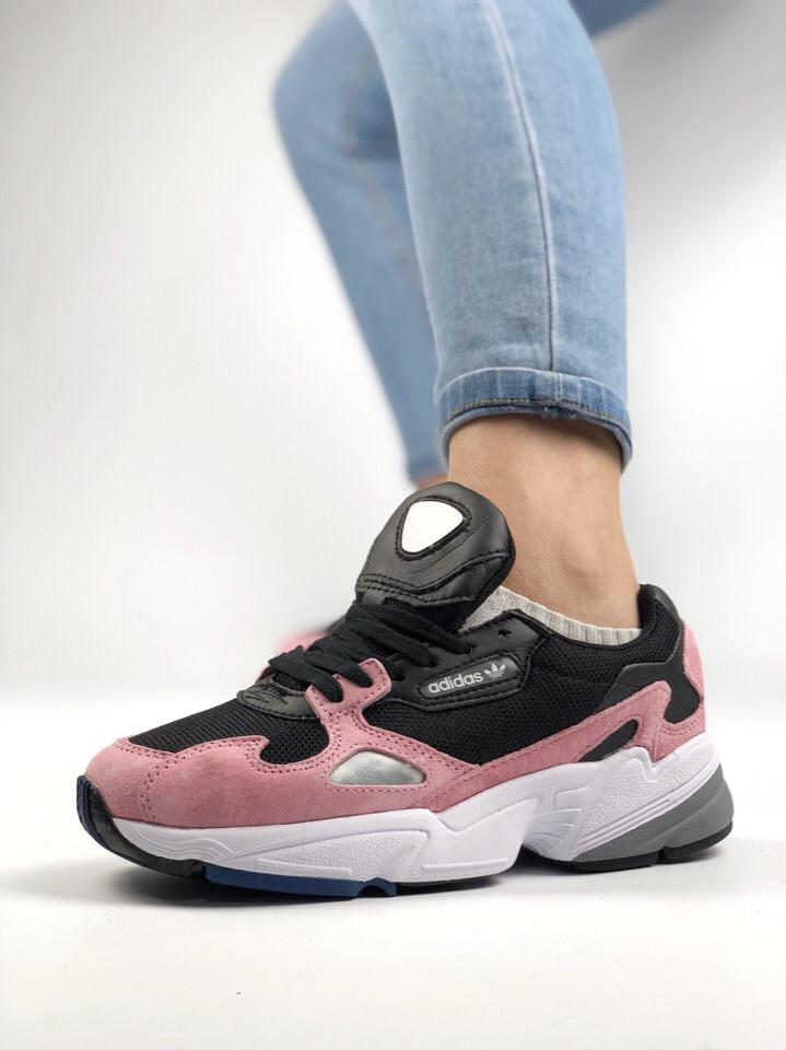 Женские Кроссовки Adidas Falcon Pink Core Black (Реплика Люкс) - Магазин  брендовой одежды 80336f21b23