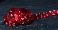 Лента атласная со снежинками красная 2,5см , фото 1