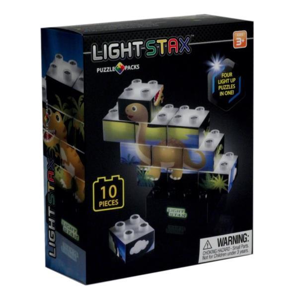 Конструктор LIGHT STAX Junior с LED подсветкой Puzzle Dinosaurer Edition LS-M03004