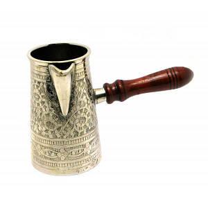 Турка бронзовая посеребренная в футляре 0,7л. (19х9,5х11 см) ( 28343)