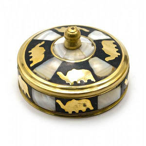 Шкатулка бронзовая с перламутром (d-7,h-3,5 см) ( 25805)