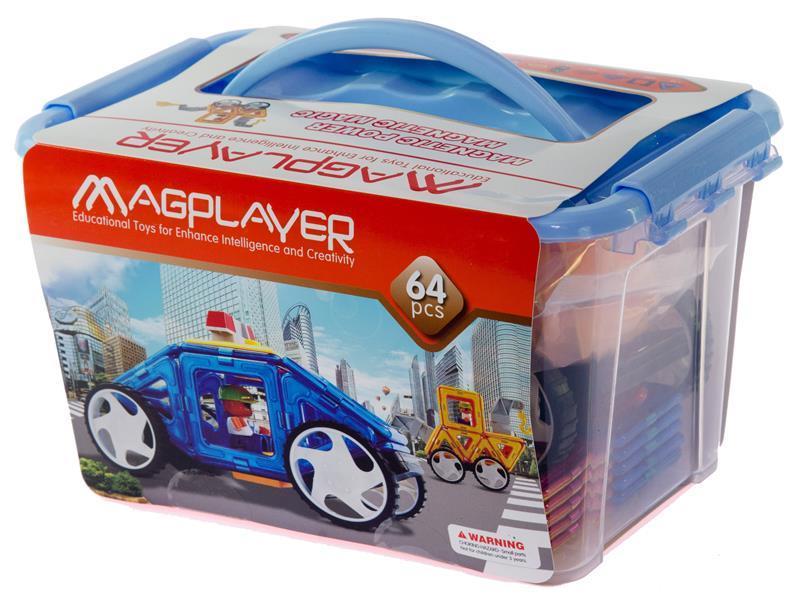 Конструктор Magplayer магнитный набор 64 эл. MPT-64