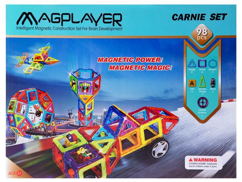 Конструктор Magplayer магнитный набор 98 эл. MPA-98
