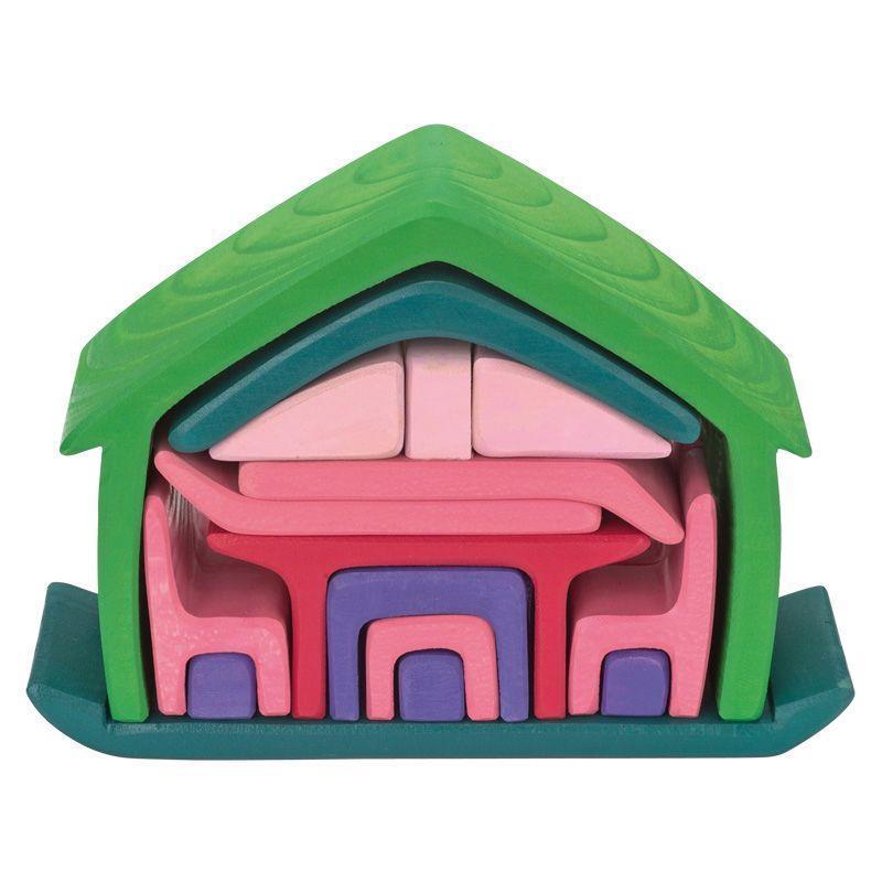 Конструктор nic деревянный Все в доме зеленый NIC523265