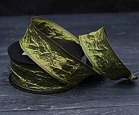 Лента декоративная 4 см оливкового цвета  ЖАТАЯ \проволочный край двусторонняя