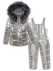 Детский зимний комбинезон Металлик на девочку, в расцветках, р.86,92