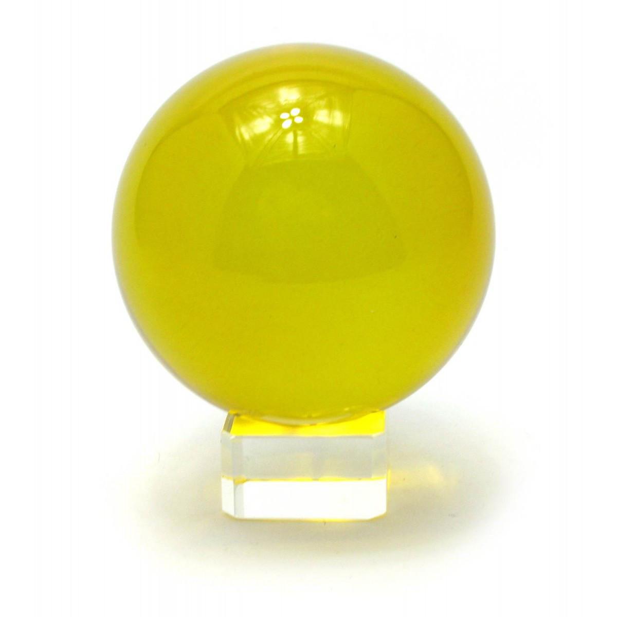 Шар хрустальный на подставке желтый (8 см) ( 28845)