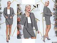 Деловой теплый юбочный костюм: жакет без застежки и юбка из буклированого трикотажа