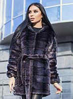 Женская поперечная графитовая шубаиз меха под норку с капюшономs-719019