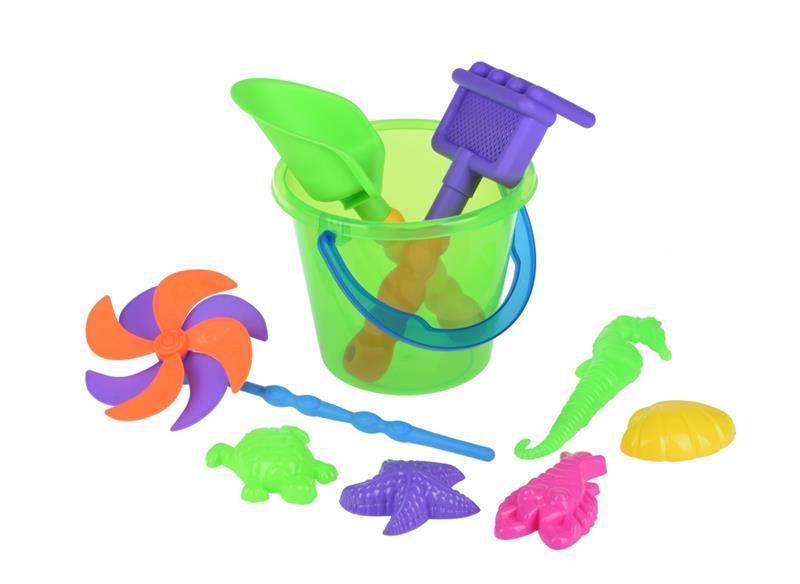 Набор для игры с песком Same Toy с Воздушной вертушкой (зеленое ведро) 9 шт HY-1206WUt-1