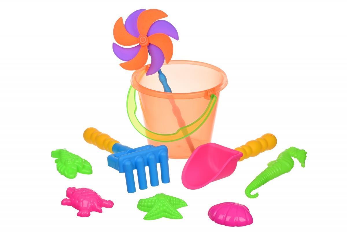 Набор для игры с песком Same Toy с Воздушной вертушкой (оранжевое ведро) 9 шт HY-1206WUt-4