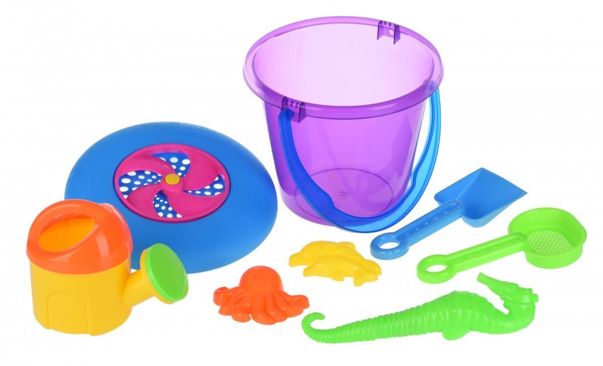 Набор для игры с песком Same Toy с Летающей тарелкой (фиолетовое ведро)8 шт HY-1205WUt-3
