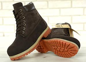 Женские зимние ботинки Timberland 6 inch Brown С МЕХОМ, фото 3