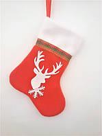 Сапожок новогодний для подарков с оленем красный 18*9,5 см носок чулок шкарпетка для подарунків