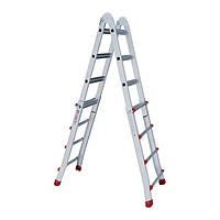 Лестница алюминиевая универсальная раскладная телескопическая 4x4 ступ. 4,20 м INTERTOOL LT-2044