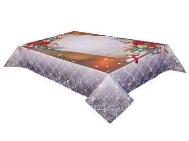 Скатерть новогодняя тканевая гобеленовая 137 х 137 см скатертина новорічна гобеленова