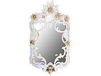 Зеркало настенное 35х59 см. из полистоуна+патина, бело золотистое Euromarchi