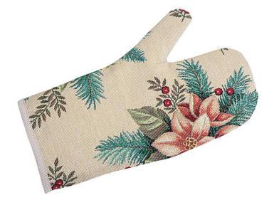 Рукавица кухонная прихватка новогодняя гобеленовая 17х30 см рукавиця прихватка різдвяна новорічна