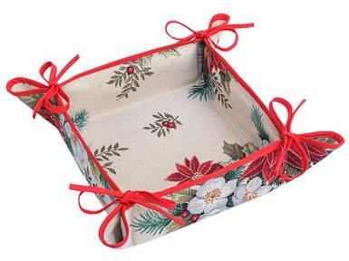 Хлебница новогодняя тканевая гобеленовая 20х20 хлібничка новорічна різдвяна гобеленова хлібниця