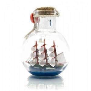 Парусник в бутылке (9х7х7 см) ( 23329)