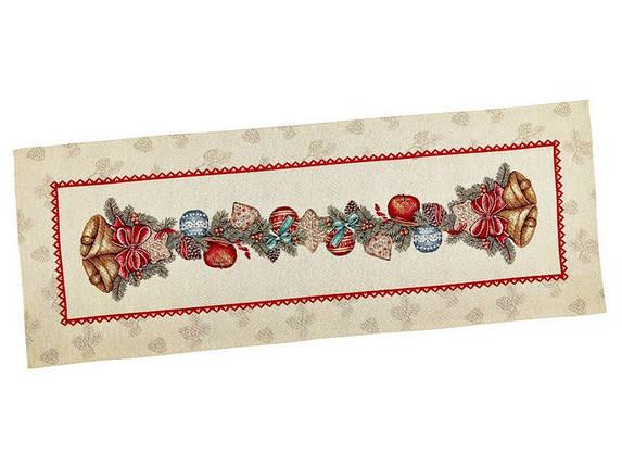 Наперон новогодний гобеленовый 37 х 100 см раннер ранер новогодняя тканевая дорожка на стол, фото 2