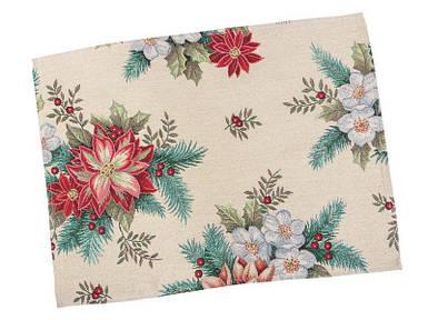 Салфетка под тарелку тканевая гобеленовая новогодняя 34 х 44 см новорічна серветка серветки