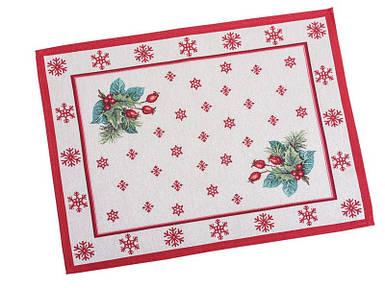 Салфетка под тарелку тканевая гобеленовая новогодняя 37 х 49 см новорічна серветка серветки