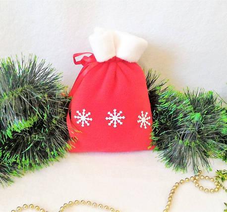 Мешок новогодний для подарков конфет красный Снежинки 21*15 см мішок новорічний для подарунків, фото 2