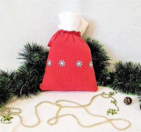 Мешок новогодний для подарков конфет красный Снежинки 31*27 см мішок новорічний для подарунків, фото 2
