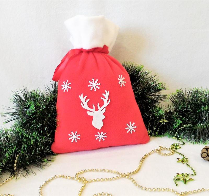 Мешок новогодний для подарков конфет Олень 31*27 см мішок новорічний для подарунків