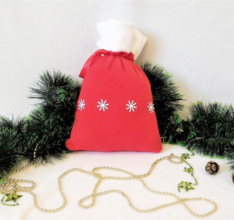 Мешок новогодний для подарков конфет Снежинки 31*27 см мішок новорічний для подарунків