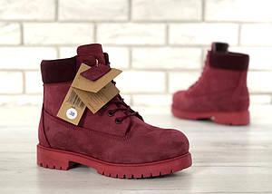 Женские зимние ботинки Timberland 6 inch Bordo С МЕХОМ, фото 2