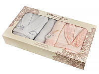 Набор подарочный 6 пр (2 халата муж l/xl, жен s/m+4 полотенца 150х90/ 90х50) розово-серый
